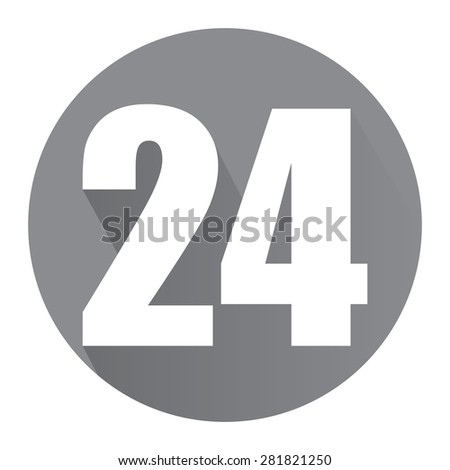 Black Circle 24, 24HR, 24HRS, 24 Hours Service, 24 Hours Open Long Shadow Style Icon, Label, Sticker, Sign or Banner Isolated on White Background - stock photo