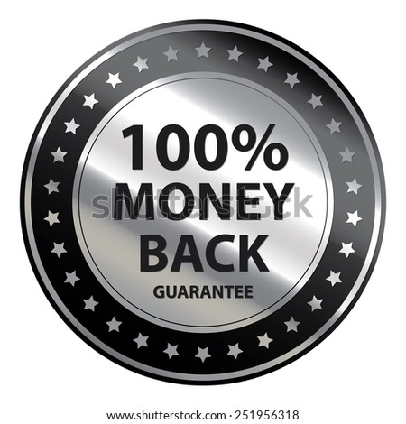 Black Circle Metallic 100% Money Back Guarantee Icon,Tag, Sticker or Label Isolated on White Background  - stock photo