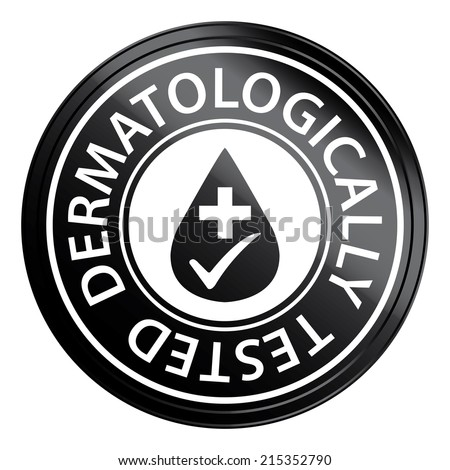 Black Circle Metallic Style Dermatologically Tested Icon, Sticker or Label Isolated on White Background  - stock photo