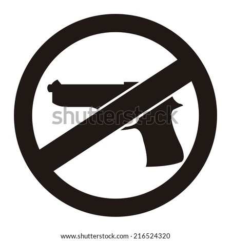 Black Circle No Gun Prohibited Sign, Icon or Label Isolate on White Background  - stock photo