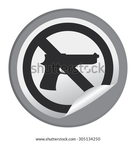 Black Circle No Gun Prohibited Sign Infographics , Sticker, Icon or Label Isolated on White Background  - stock photo