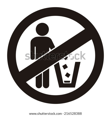 Black Circle No Littering Prohibited Sign, Icon or Label Isolate on White Background  - stock photo