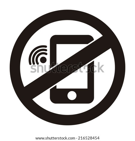 Black Circle No Mobile Phone Prohibited Sign, Icon or Label Isolate on White Background  - stock photo