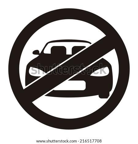 Black Circle No Parking Prohibited Sign, Icon or Label Isolate on White Background  - stock photo
