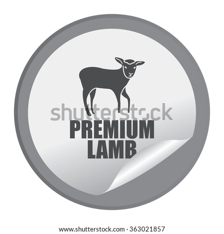 Black Circle Premium Lamb Product Label, Infographics Flat Icon, Peeling Sticker, Sign Isolated on White Background