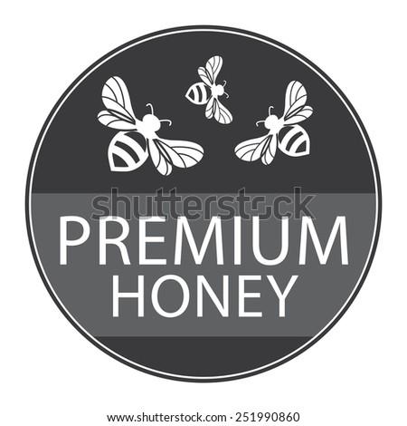 Black Circle Shape Vintage Style Premium Honey Icon, Button or Label Isolated on White Background  - stock photo