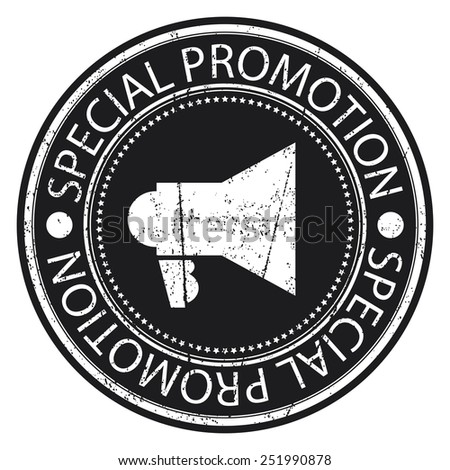 Black Circle Special Promotion Grunge Sticker, Rubber Stamp, Icon, Tag or Label Isolated on White Background - stock photo
