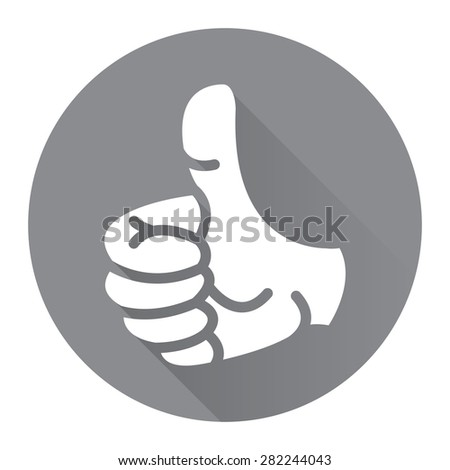 Black Circle Thumb Up Flat Long Shadow Style Icon, Label, Sticker, Sign or Banner Isolated on White Background