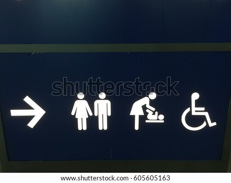 Black Circle Toilet Sign With Background Man Women Baby Changing And