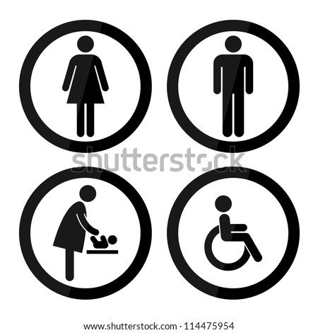 Black Circle Toilet Sign with Black Circle Border, Man Sign, Women Sign, Baby Changing Sign, Handicap Sign - stock photo
