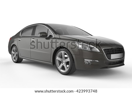 Black city car with blank surface for your creative design. 3D illustration