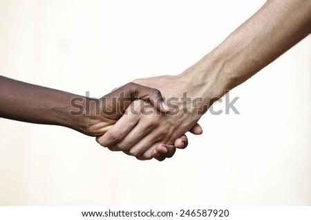 Black Civil Rights Symbol: Multi-Ethnic Handshake Africa - stock photo
