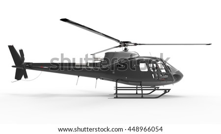 Black civilian helicopter on a white uniform background. 3d illustration.