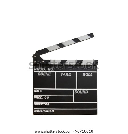 Black clapper board isolated on white background - stock photo