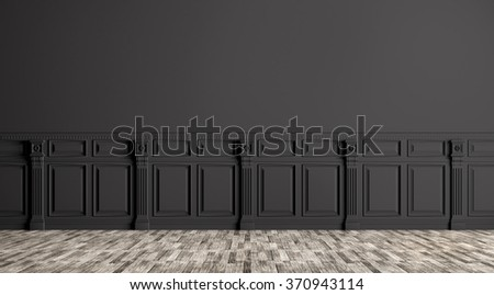 Black classic interior with wall paneling background 3d render - stock photo