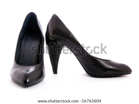 Black classic leather shoes - stock photo