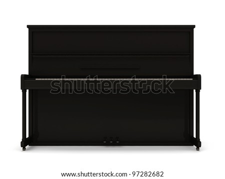 Black Classic Piano isolated on white background - stock photo