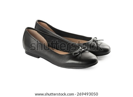 Black classic shoes isolated on a white background - stock photo
