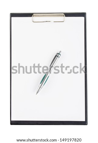 black clipboard with a pen isolated on white background