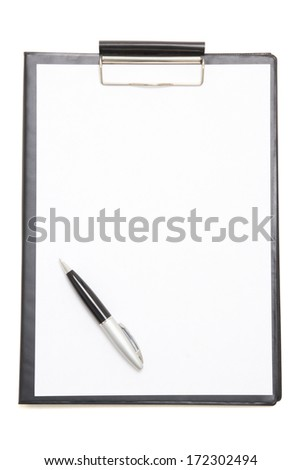 black clipboard with blank paper sheet and pen isolated on white background