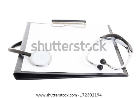 black clipboard with blank paper sheet and stethoscope isolated on white background - stock photo
