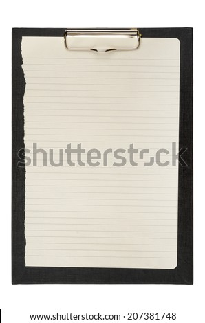 Black clipboard with blank sheets of paper isolated on white. With clipping path - stock photo
