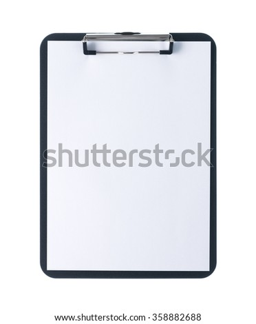 Black clipboard with blank white sheet attached on white background - stock photo