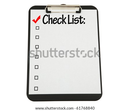 Black Clipboard With Check List Attached.  Clipping Path Included. - stock photo