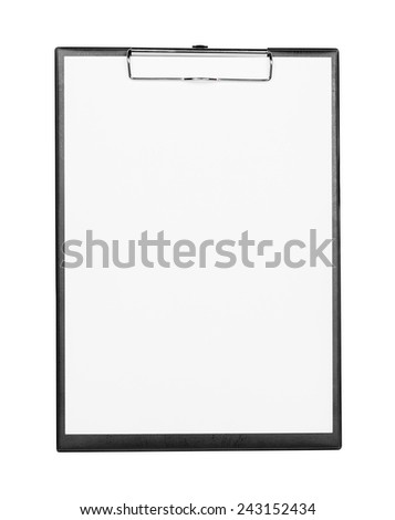Black clipboard with white paper isolated on white background with clipping path - stock photo