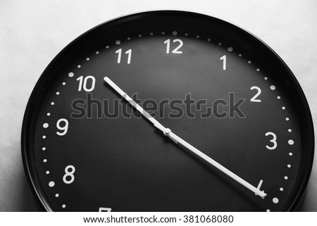 Black clock face - stock photo