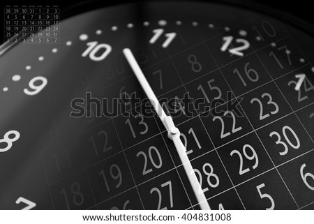 Black clock face - stock photo