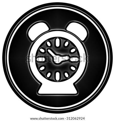 Black clock icon on white background - stock photo