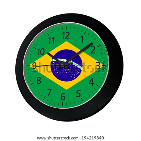 Black clock with flag of Brazil on wall reads ten past ten isolated on white background - stock photo