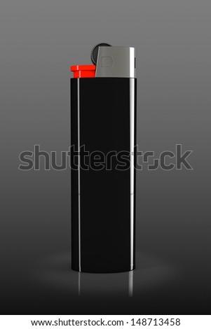 Black closeup cigarette lighter on a black background - stock photo