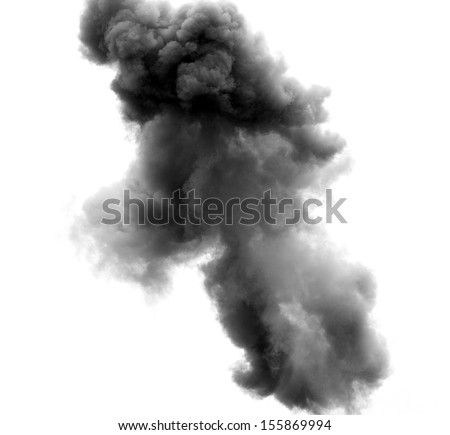 black cloud of a terrible explosion in the sky - stock photo