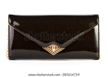 Black clutch bag isolated on white background - stock photo