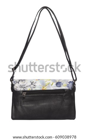 Black clutch with floral pattern isolated
