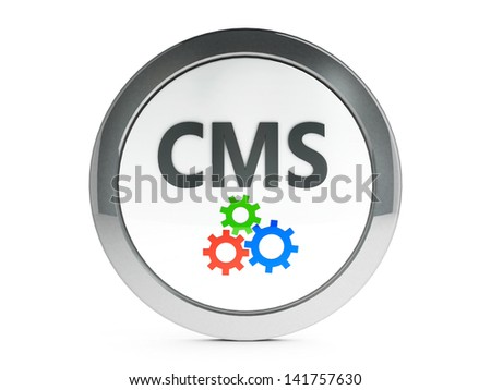Black CMS emblem isolated on white background, three-dimensional rendering - stock photo