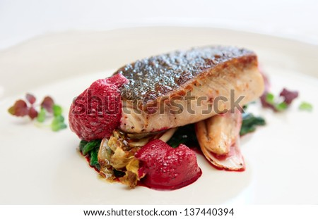 Black cod fillet witt chicory and beetroot juice froth - gourmet dish - stock photo