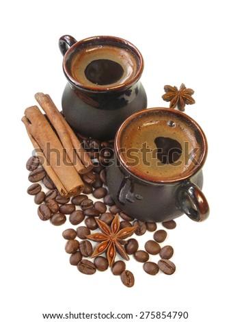 black coffe, cinnamon and anise - stock photo