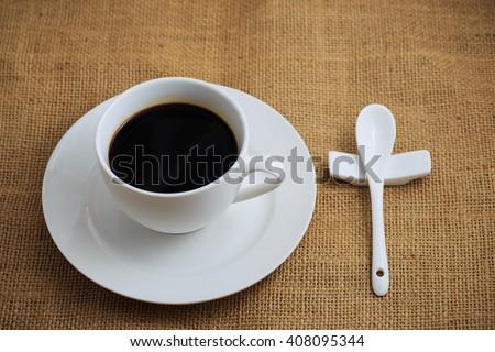 black coffee - stock photo