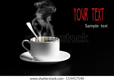 Black coffee, a cup of beans - stock photo