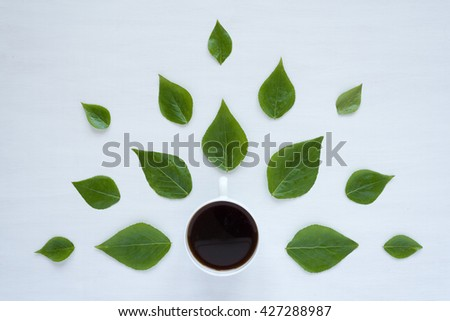 Black coffee and green leaves on white background