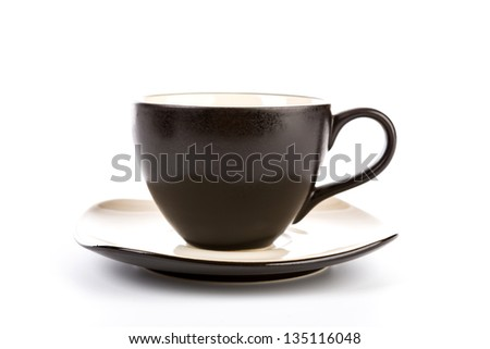 Black coffee cup on a white background - stock photo