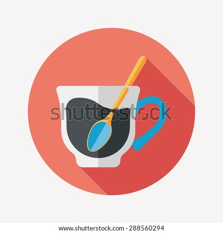 black coffee flat icon with long shadow - stock photo