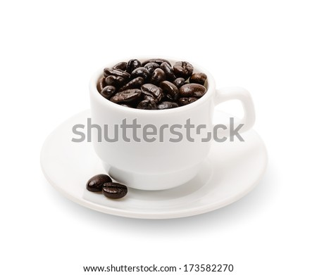 black coffee grains in a cup isolated on white. object  with clipping paths
