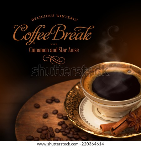 black coffee in a golden cup, winterly spices - stock photo