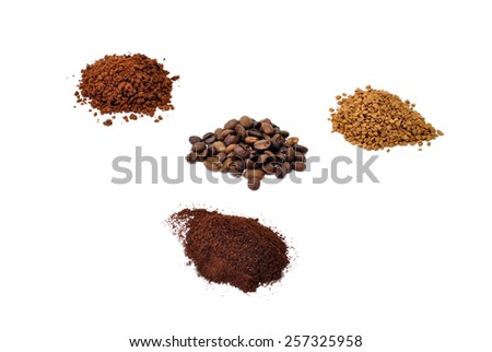 black coffee in four different forms: beans, ground, granulated and sublimated - stock photo
