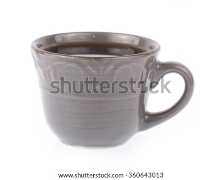black coffee in grey cup isolated on white background