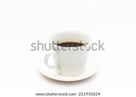 black coffee in white coffee mug on white background - stock photo